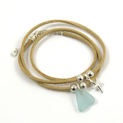 BOHO Wrap Sea Glass and Faux Suede Bracelet with Sterling Silver Charms and