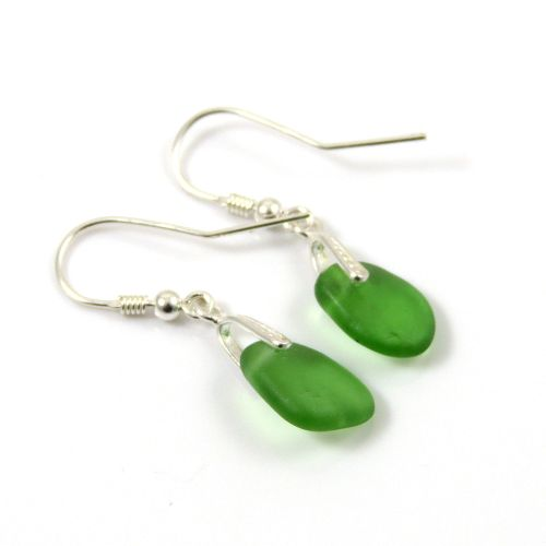 Kelly Green Sea Glass Sterling Silver Drop Earrings