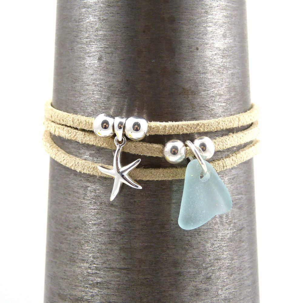sand wrap bracelet with starfish and sea glass charms (1) 5x5