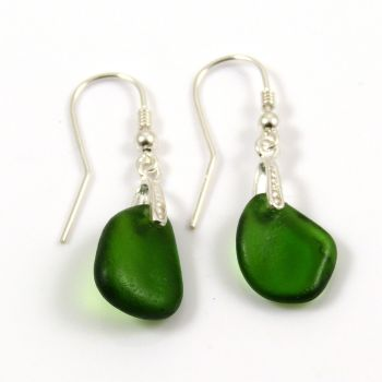 Green Sea Glass Sterling Silver Drop Earrings e42