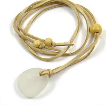 Sea Glass and Faux Suede Long Beach Necklace White Sea Glass