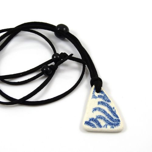 Beach Pottery and Adjustable Faux Suede Necklace - Sea Pottery - Beach Jewe