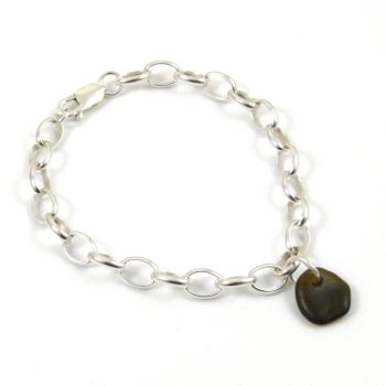 Dark Olive Yellow Sea Glass and Sterling Silver Chunky Bracelet - FREE Delivery