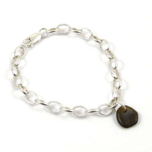 Dark Olive Yellow Sea Glass and Sterling Silver Chunky Bracelet - FREE Deli