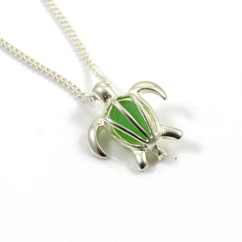 Turtle Locket with Emerald Green Sea Glass