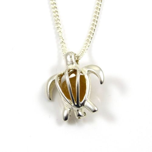 Turtle Locket with Honey Amber Sea Glass