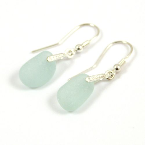 Pale Aquamarine Sea Glass Sterling Silver Earrings e47