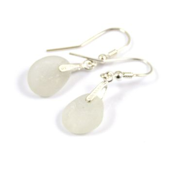 White Sea Glass and Sterling Silver Earrings e98