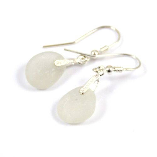 White Sea Glass and Sterling Silver Earrings