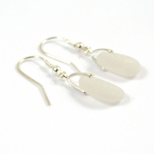 White Sea Glass and Sterling Silver Earrings  e50