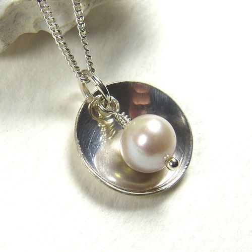 Sterling Silver Domed Disc |Swarovski Crystal White Pearl | Bridesmaid | We