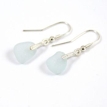 Seafoam Blue Sea Glass Sterling Silver Earrings e51