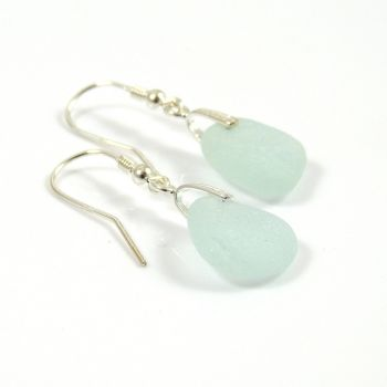 Pale Aquamarine Sea Glass Sterling Silver Earrings e52