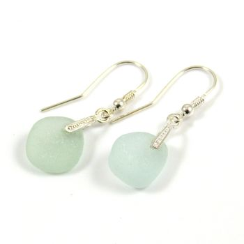 Pale Aquamarine Sea Glass Sterling Silver Earrings e53