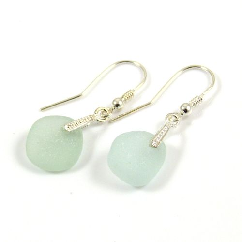 Seaspray Sea Glass Sterling Silver Earrings e53