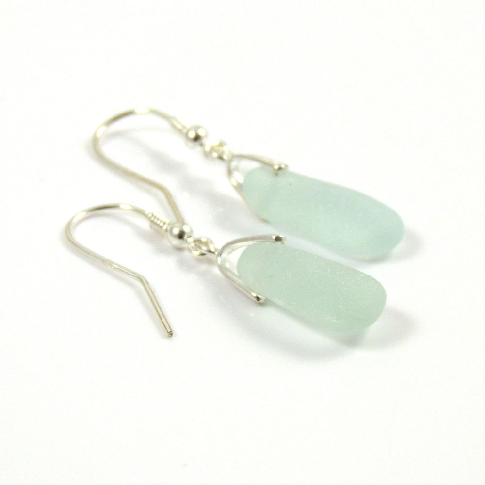 Pale Aquamarine Sea Glass Sterling Silver Earrings e54