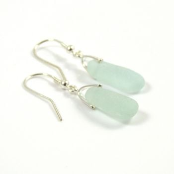 Pale Aquamarine Sea Glass Sterling Silver Earrings e54