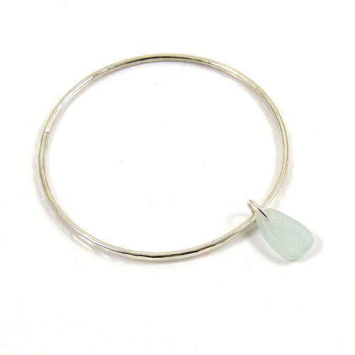 Sterling Silver Hammered Bangle and Seaspray Sea Glass Charm b207