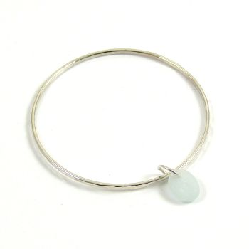 Sterling Silver Hammered Bangle and Seamist Sea Glass Charm b206