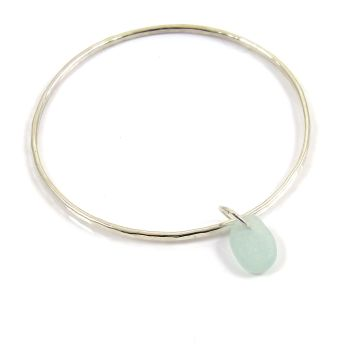 Sterling Silver Hammered Bangle and Pale Aquamarine Sea Glass Charm b208