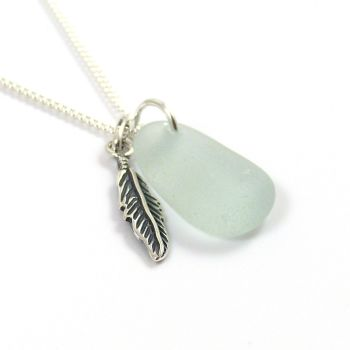 Pale Aquamarine Sea Glass and Sterling Silver Angel Feather Necklace