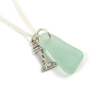 Seafoam Sea Glass and Sterling Silver Lighthouse Charm Necklace