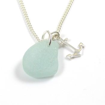 Pale Aquamarine Sea Glass and Silver Anchor Charm Necklace