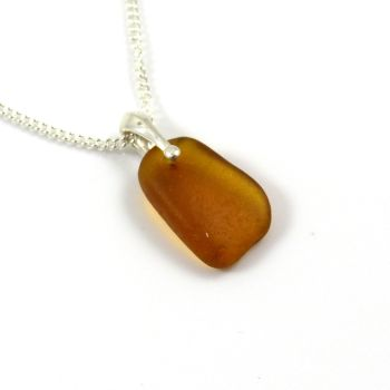 Amber Sea Glass and Silver Necklace ELISA