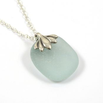 Blue Seafoam Sea Glass Necklace KIARA