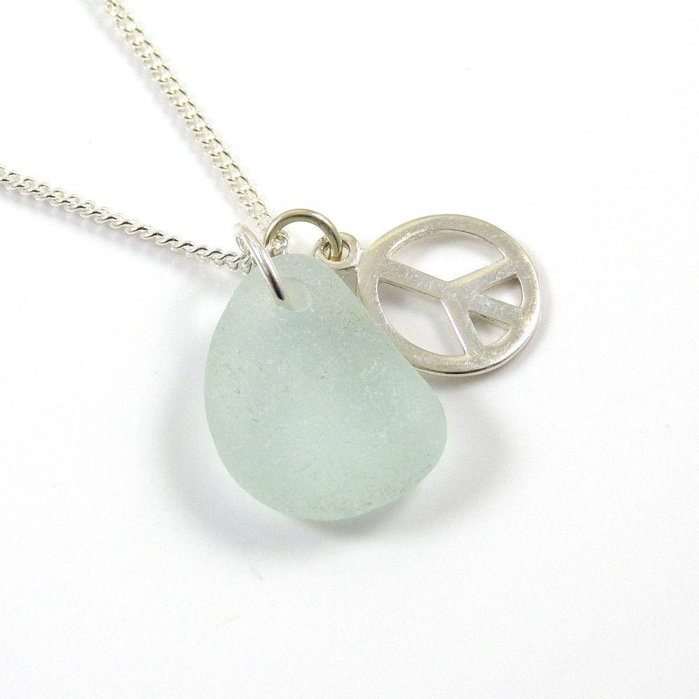 Seafoam Sea Glass, PEACE Charm, Sea Glass Necklace