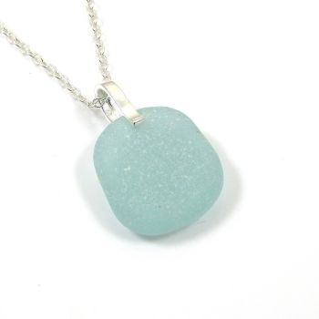 Deep Seafoam Sea Glass and Sterling Silver Necklace LYDIA