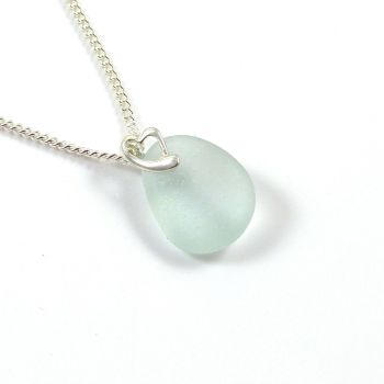 Seaspray Sea Glass and Sterling Silver Heart Necklace DAISI