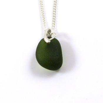 Dark Olive Green Sea Glass Necklace SELENE