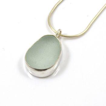 Aqua Sea Glass Pendant Necklace ADALENE
