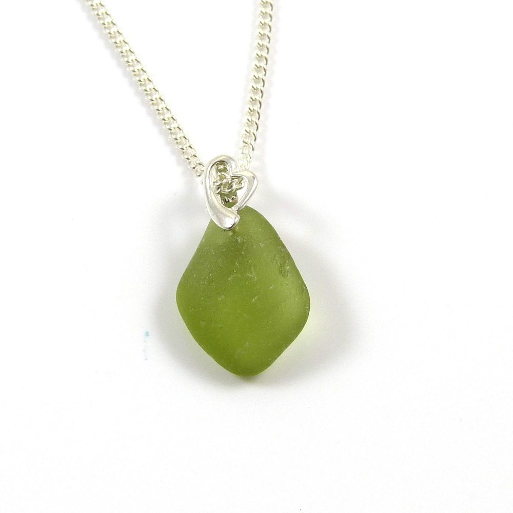 Olive Yellow Sea Glass Necklace MACEY