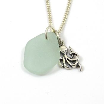 Seafoam Sea Glass and Sterling Silver Octopus Necklace