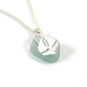 Seafoam Sea Glass and Sterling Silver Boat Charm Necklace