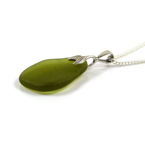 Olive Green Sea Glass Necklace Mermaid SILANA