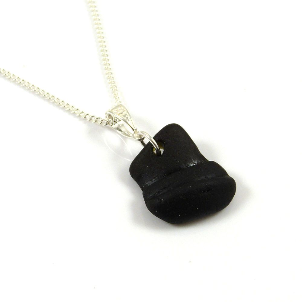 Rare Black Sea Glass Pendant Necklace, EVELIA