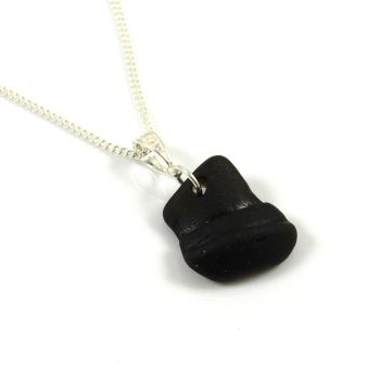 Rare Black Sea Glass Pendant Necklace, EVELIA