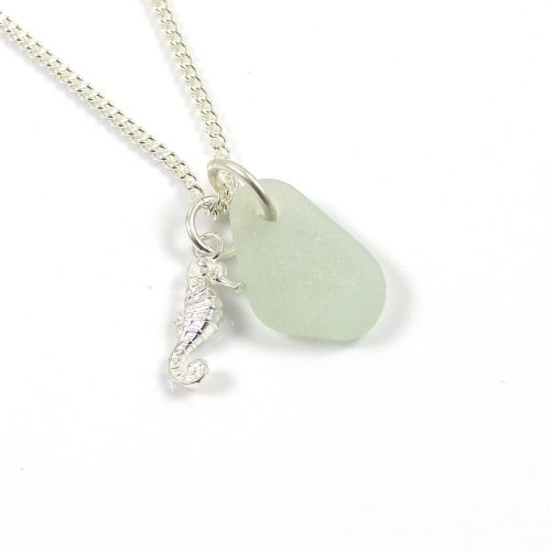 Seafoam Sea Glass and Sterling Silver Seahorse Charm Necklace
