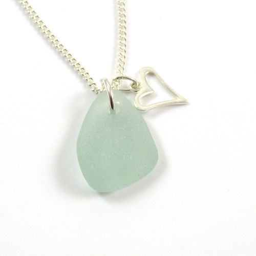 Deep Seafoam Sea Glass and Sterling Silver Open Heart Charm Necklace