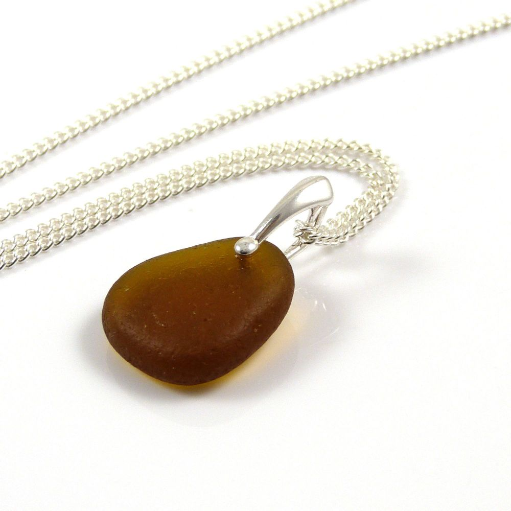 Toffee Sea Glass and Silver Necklace DEVIN