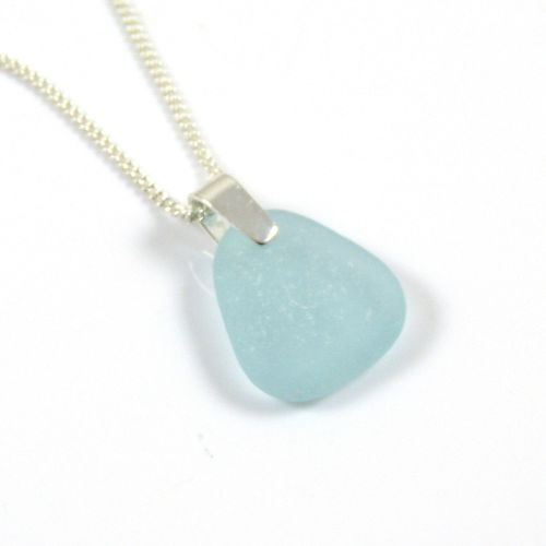 Light Aquamarine Sea Glass and Sterling Silver Necklace MARIETTE