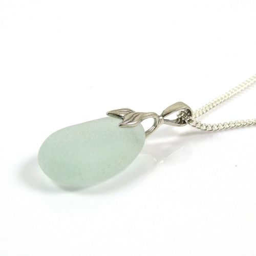 Pale Aquamarine Blue Sea Glass Necklace Mermaid MONIQUE