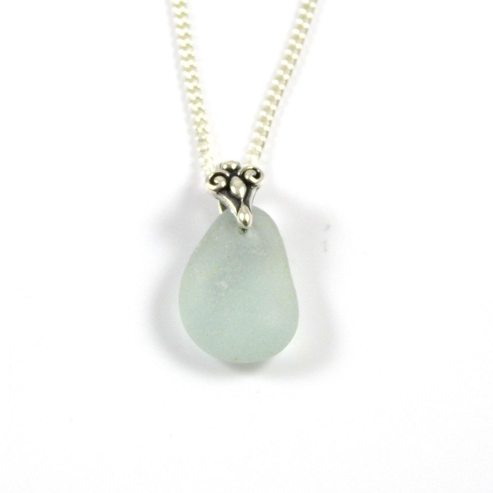 Seafoam Blue Sea Glass and Silver Necklace CLARE