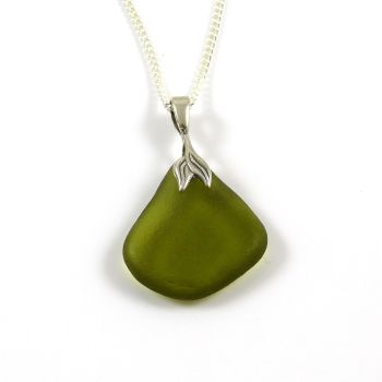 Olive Green Sea Glass Necklace Mermaid ALITA