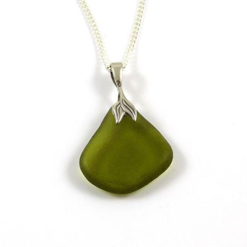 Olive Green Sea Glass Necklace Mermaid ALITA