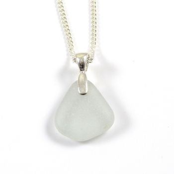 Pale Ice Blue Sea Glass and Sterling Silver Necklace MANON