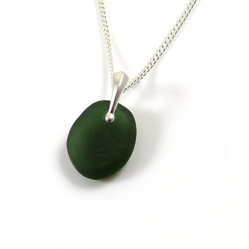 Forest Green Sea Glass Necklace JASMIN